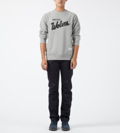 Raised by Wolves Heather Grey Varsity Crewneck Sweater Model Picture