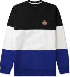 HUF Black/White/Blue Crested Block Crewneck Sweater Picutre