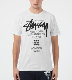 Stussy White World Tour Scribble T-Shirt Model Picture