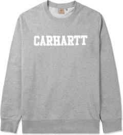 Carhartt WORK IN PROGRESS Grey Heather/White College Crewneck Sweater Picutre