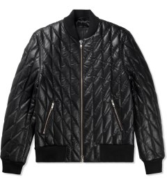 MKI BLACK Black High Grain Diamond Bomber Jacket Picutre