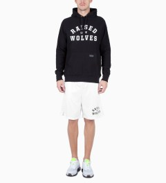 Raised by Wolves White College Basketball Shorts Model Picutre