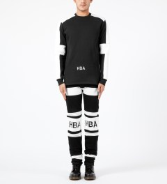 Hood By Air. Black Padded Stripe Sweater Model Picture