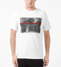 Black Scale White Shanti Skull T-Shirt Model Picture