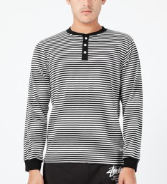 Stussy Black Louis L/S Henley Sweater Model Picture