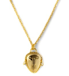 AMBUSH® Gold Tribal Head Pendant Necklace Model Picture