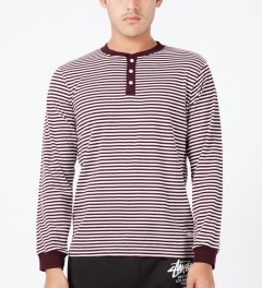 Stussy Wine Louis L/S Henley Sweater Model Picture