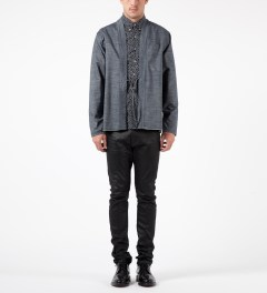 Naked & Famous Blue Chambray Selvedge Kimono Shirt Model Picutre