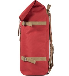 Poler Red Roll-Top Backpack Model Picutre