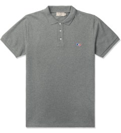 Maison Kitsune Grey Melange Tricolor Patch S/S Polo Shirt Picture