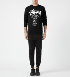 Stussy Black World Tour Crewneck Sweater Model Picture