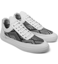 Filling Pieces TSA Woven White Low Top Sneakers Model Picutre