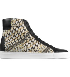 Thorocraft Black/Gold Chain Logan High Top Sneakers Picutre
