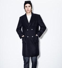 MKI Black Navy Melton Double Overcoat Picture