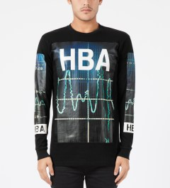 Hood By Air. Black Color Monitor L/S T-Shirt Model Picture