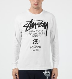Stussy White World Tour L/S T-Shirt Model Picture
