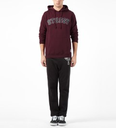 Stussy Maroon MLB Hooded Sweater Model Picture
