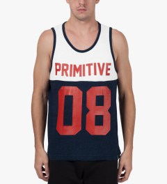 Primitive Navy Heather Division Tank Top Model Picture