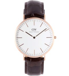 Daniel Wellington Rose Gold Classic York 40mm Leather Watch Picture