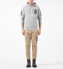 Stussy Heather Grey SS Old Skool Hoodie Model Picture