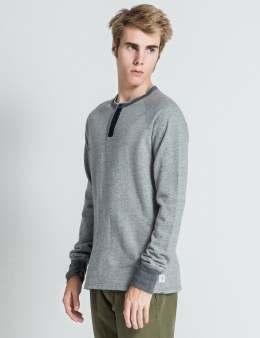 REIGNING CHAMP Heather Grey/Navy RC-2704-1 LS Henley Sweater Picture