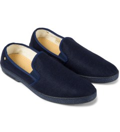 Rivieras Dark Navy Manoir II Feutre Slip-On Shoes Model Picutre