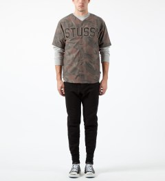 Stussy Brown Camo Lux Wool Baseball Shirt Model Picture