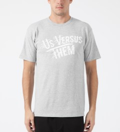 Us Versus Them Heather Grey Workshop T-Shirt Model Picture