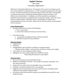 9th Grade Honors English - Pennsbury School District [ 1024 x 791 Pixel ]