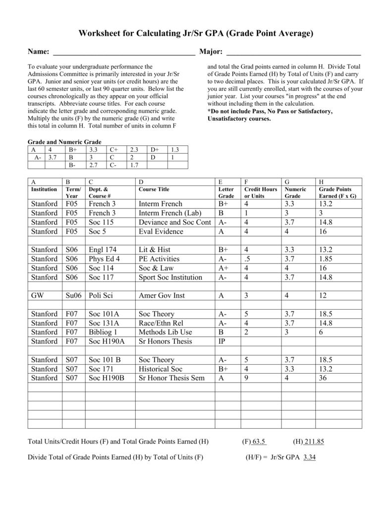 hight resolution of Worksheet for Calculating Jr/Sr GPA (Grade Point Average)