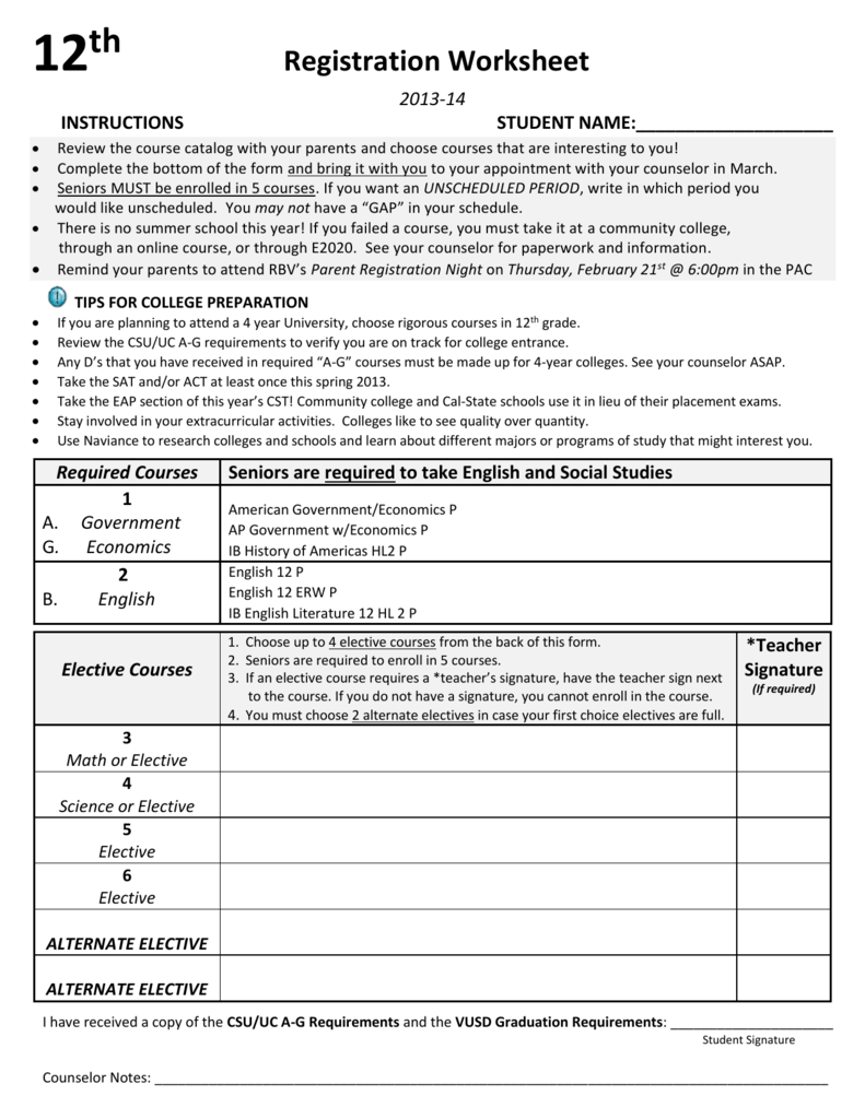 hight resolution of 12th GRADE COURSE WORKSHEET