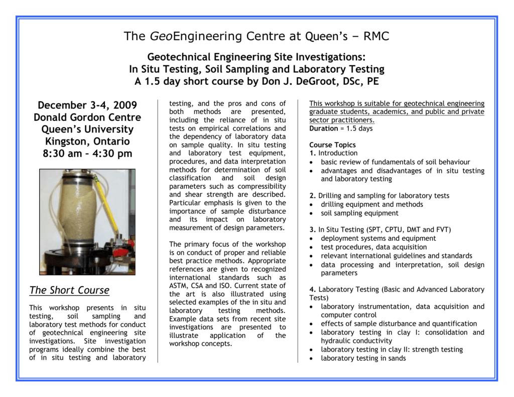 In Situ Testing Soil Sampling And Laboratory Testing