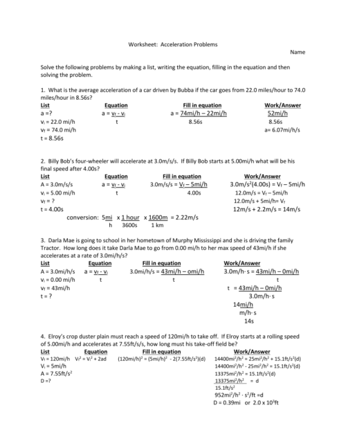 small resolution of Acceleration Problems Worksheet Answers - Worksheet List