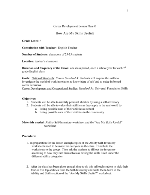 small resolution of Middle School Career Development Lesson Plans