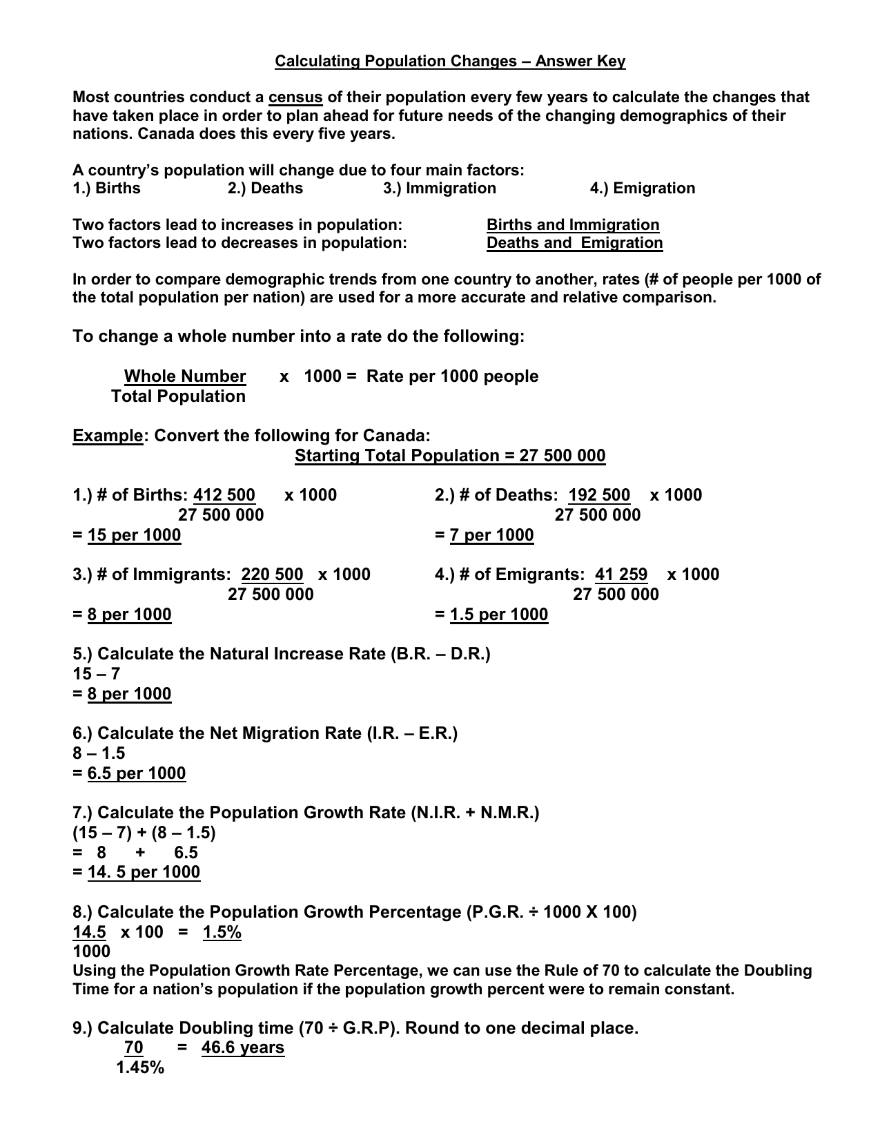 Calculating Population Changes Answer Key