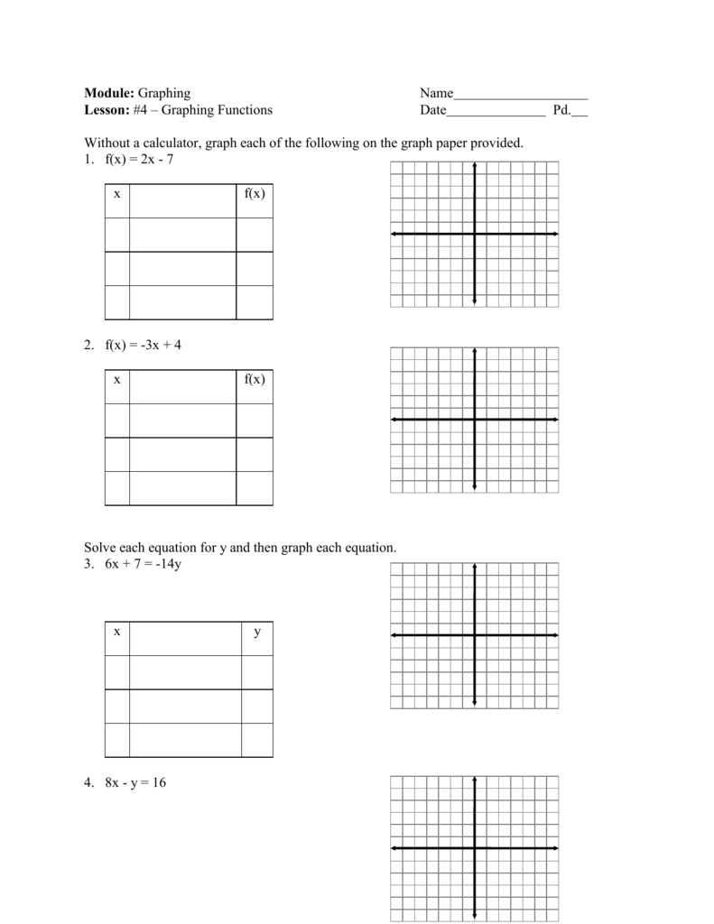Linear Equations Graphing Worksheet