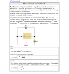problem view measurements in electric circuits description several questions related to a single loop circuit with one resistor an ammeter  [ 791 x 1024 Pixel ]