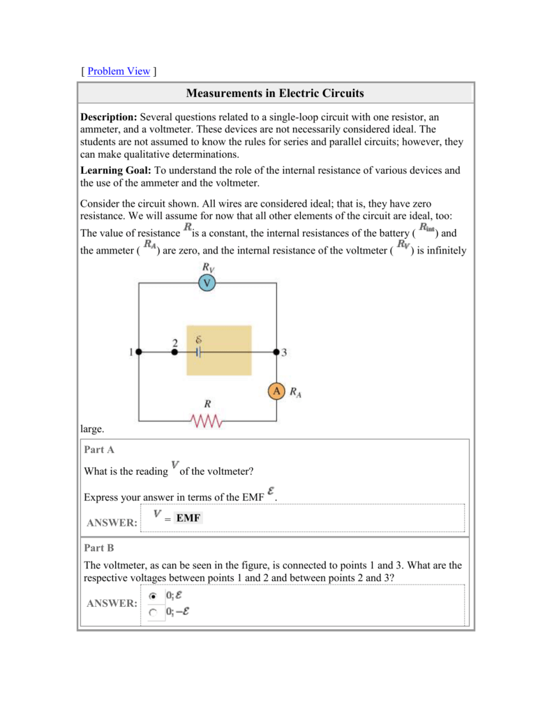 hight resolution of  problem view measurements in electric circuits description several questions related to a single loop circuit with one resistor an ammeter