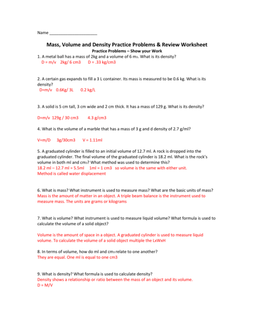 small resolution of Density Practice Problems Worksheet Answers - Promotiontablecovers