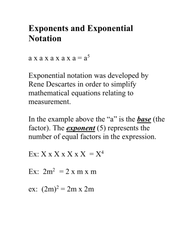 Exponents and Exponential Notation