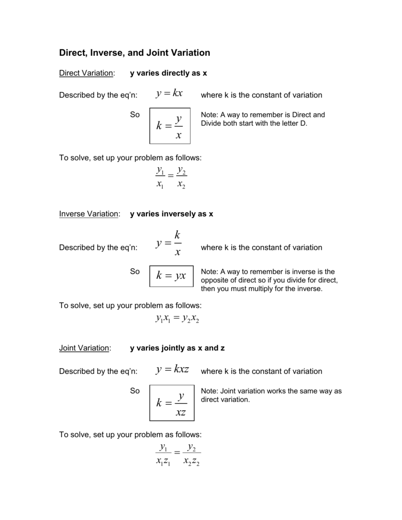 hight resolution of Direct And Inverse Variation Worksheet With Answers - Promotiontablecovers