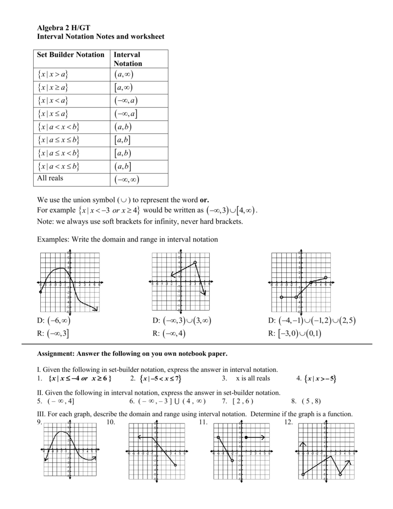 Domain And Range Interval Notation Worksheet With Answers : domain, range, interval, notation, worksheet, answers, Interval, Notation, Homepage