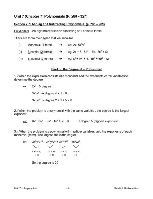 small resolution of Unit 7 (Chapter 7) Polynomials (P