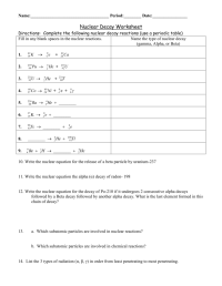 worksheet. Radioactive Decay Worksheet. Grass Fedjp ...