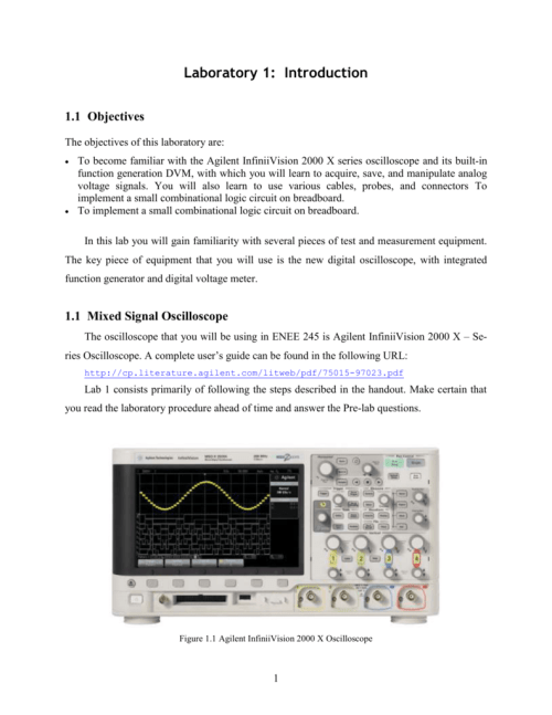 small resolution of  of this laboratory are to become familiar with the agilent infiniivision 2000 x series oscilloscope and its built in function generation dvm