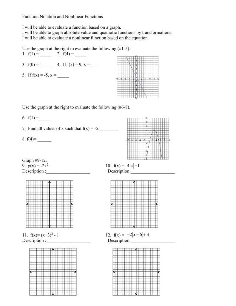 medium resolution of Worksheets: Algebra 1 Function Notation Worksheet Zone