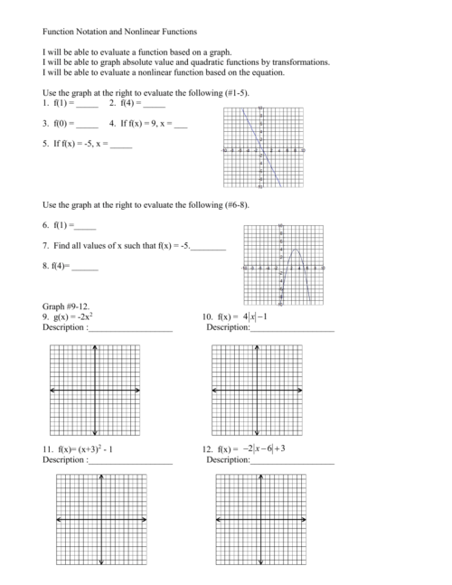 small resolution of Worksheets: Algebra 1 Function Notation Worksheet Zone