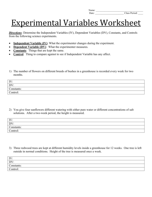 small resolution of Experimental Variables Worksheet Answers - Worksheet List
