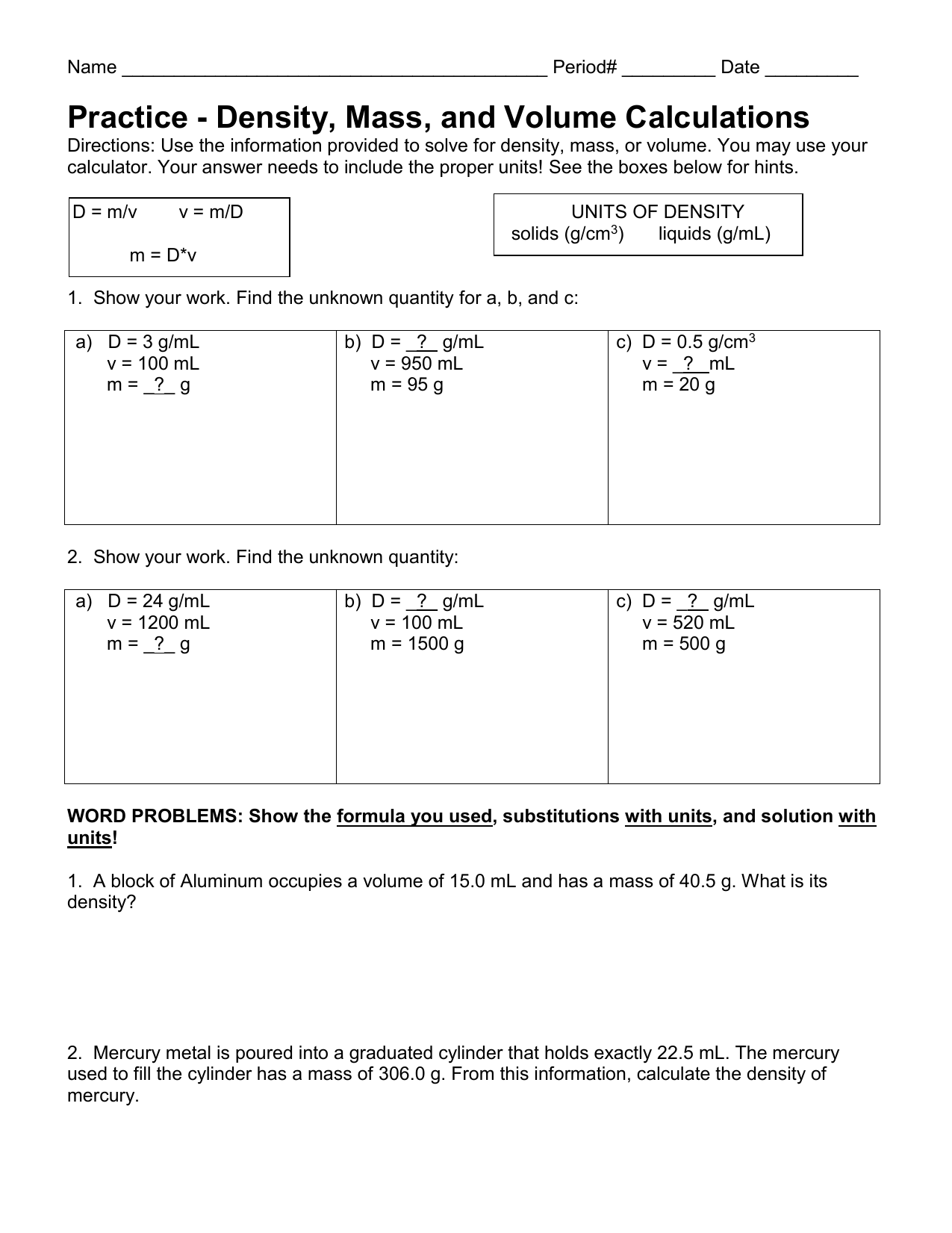 hight resolution of 31 Mass Volume And Density Worksheet Answers - Worksheet Project List
