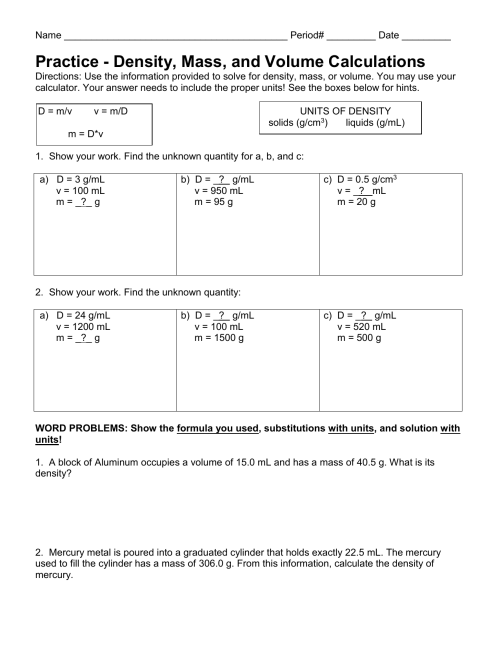 small resolution of 31 Mass Volume And Density Worksheet Answers - Worksheet Project List
